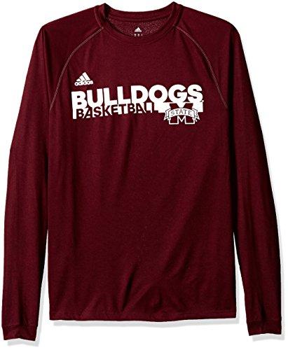adidas NCAA Mississippi State Bulldogs Mens Sideline Grind Climalite L/S Teesideline Grind Climalite L/S Tee, Maroon, Medium (Adidas Sideline Polo Shirt)