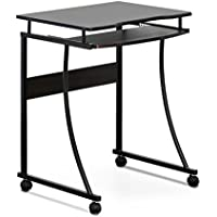 FURINNO FCG295EX Besi Metal Frame Computer Desk with Keyboard Tray, Espresso