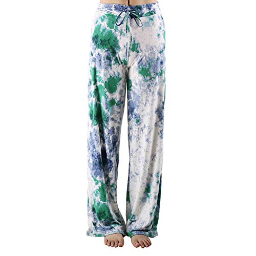 Buttery Soft Pajama Pants for Women - Floral Print Drawstring Casual Palazzo Lounge Pants Wide Leg for All Seasons (XXL, Sky ()