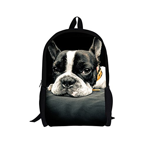 Sannovo DIY Fashion Boston Terrier Breed Standard Backpack Primary School Bag for Teenagers (Boston Terrier Breed Standard)