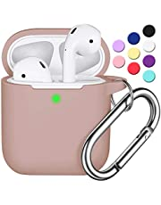 AirPods Case Cover with Keychain, Full Protective Silicone AirPods Accessories Skin Cover for Women Girl with Apple AirPods Wireless Charging Case,Front LED Visible-Milk Tea