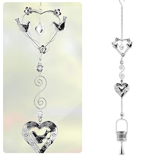 "BANBERRY DESIGNS Hanging Glass Candle Holder Chimes - Birds and Heart Shape Design - Silver Filigree with a Glass Votive Candle Holder - Hanging Garden Decor - 40"" H Gift for Mom"