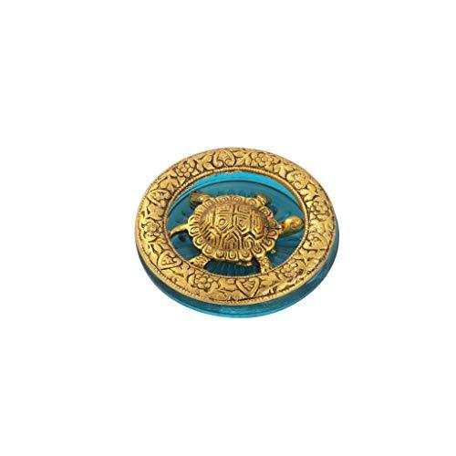 Metal Tortoise - Handicrafts Paradise Tortoise in Metal and Sky Blue Glass