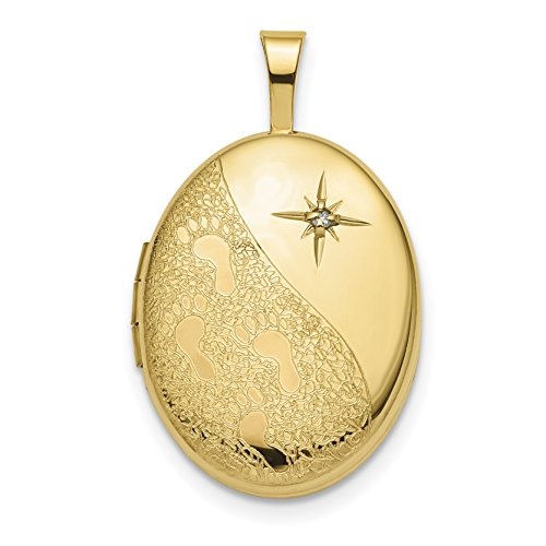 ICE CARATS 14k Yellow Gold 16mm Diamond Footprints Oval Photo Pendant Charm Locket Chain Necklace That Holds Pictures Inspiration Fine Jewelry Gift Valentine Day Set For Women Heart 16 Mm Oval Locket