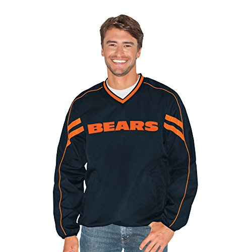 G-III Sports NFL Chicago Bears Adult Men Red Zone V-Neck Pullover, Large, Navy - Chicago Bears V-neck Pullover