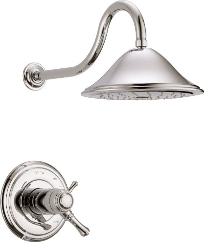 Delta Faucet Cassidy 17T Series Dual-Function Shower Trim Kit with Single-Spray Touch-Clean Shower Head, Polished Nickel T17T297-PN (Valve Not Included)