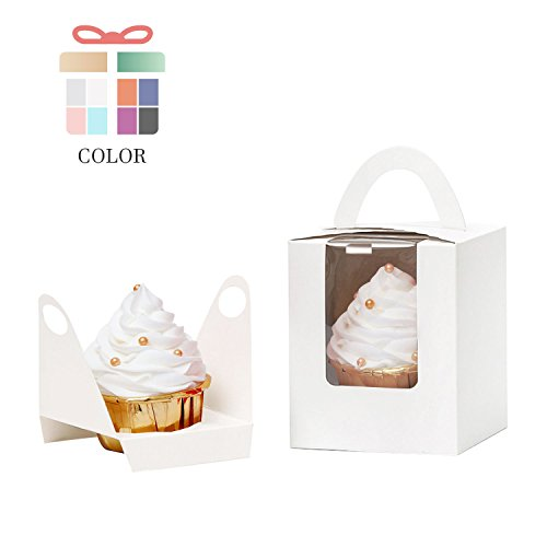 YoTruth White Cupcake Boxes Single 100 Count with Clear Window Inserts Handle for Wedding Cupcake Favor Boxes Easy Assembly