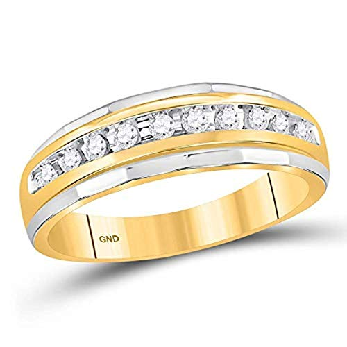 Roy Rose Jewelry 10K Yellow Gold Mens Round Diamond Single Row Grooved Wedding Band Ring 1/4-Carat tw