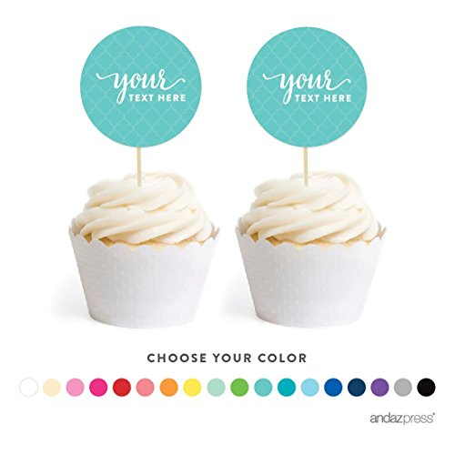 Andaz Press Fully Personalized Collection, Circle Double-Sided Cupcake Toppers, 20-Pack, Custom Text or Logo