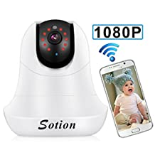 SOTION Full 1080P HD WiFi Internet Wireless Network IP Security Surveillance Video Camera System, Baby and Pet Monitor with Pan and Tilt, Two Way Audio & Night Vision White
