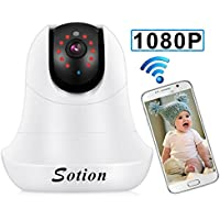 SOTION Internet WiFi Wireless Network IP Security Surveillance Video Camera System, Baby and Pet Monitor with Pan and Tilt, Two Way Audio & Night Vision (1080P) White