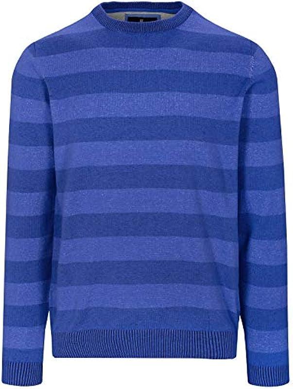 BASEFIELD męski sweter z okrągłym dekoltem w paski - Strongblue (219013618) - xxl: Odzież