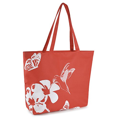 Tote Coral Swim Hummingbird Red Design Shopping Flora Large Bag Summer Pool Beach Ladies 0xBqCP6W