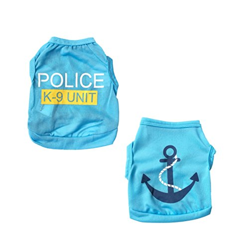 Vodeus Small Dog Clothes Pet T-shirt Police Blue And Blue T-shirt With Anchor Set Of 2 Pcs