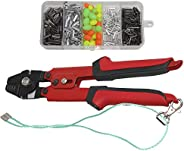 Wire Rope Crimper Fishing Crimping Pliers Stainless Steel Crimper Tools Heavy Duty Fishing Rigging Kit with 50
