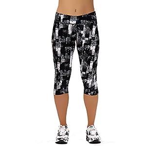 Women Girls Active Workout Capri Leggings Running Dancing Tights(Black Plaids,S)