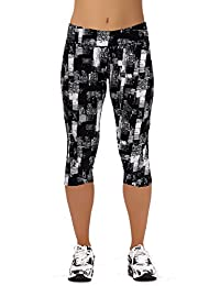 Womens Tartan Active Workout Capri Leggings Fitted Stretch Tights