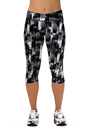 Women-Girls-Active-Workout-Capri-Leggings-Running-Dancing-TightsBlack-PlaidsM