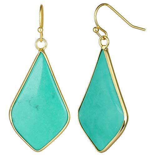 (TUMBEELLUWA Crystal Quartz Stone Dangle Hook Earrings Rhombus Gold Plated, Green Howlite)