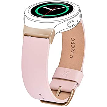 for Gear S2 Bands Women, V-MORO Soft Samsung Gear S2 Sport Band Leather Strap Replacement Wristband with Stainless Metal Adapters for Samsung Gear S2 ...
