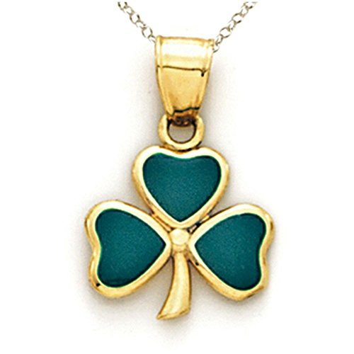 Finejewelers 14k Yellow Gold Green Enamel 3 Leaf Clover Shamrock Pendant Necklace Chain Included