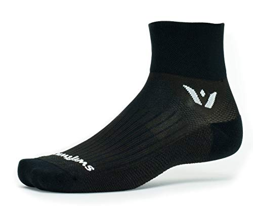 (Swiftwick- PERFORMANCE TWO | Socks Built for Trail Running and Cycling | Fast Drying, Lightweight Crew Socks | Black, Medium)