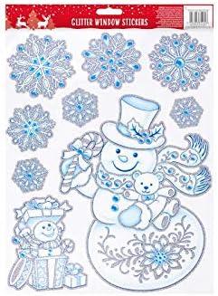 Lizzy/® Christmas Gel Window Stickers Adhesive Clings Xmas Designs Snowman Santa Elf UK Santa