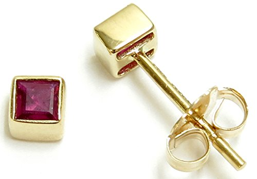 - 14k Yellow Gold Genuine Ruby=.24ct Tiny Square Bezel Stud Earrings