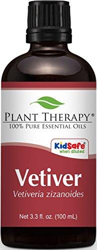 Plant Therapy Vetiver Essential Oil 100 mL  100% Pure, Undil
