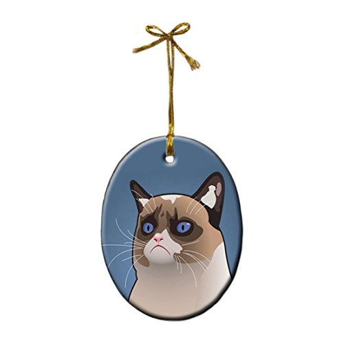 Grumpy Cat Personalized Custom Oval shape porcelain ornament Christmas gift Home Decoration