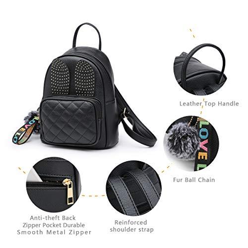 Girls Rabbit Ear Cute Mini Leather Backpack, XB Small Backpack Purse for Women Fashion Shoulder Bag (Black) by XB HANDBAG (Image #2)