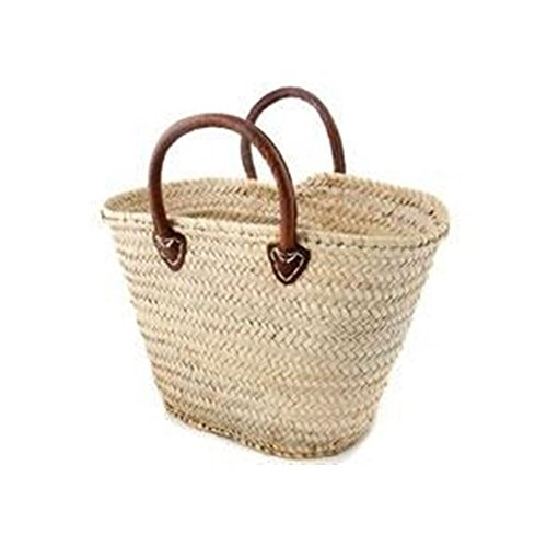 Morocco Round Leather Handled Palm Leave Basket (With Handles Baskets Leather Shopping Wicker)
