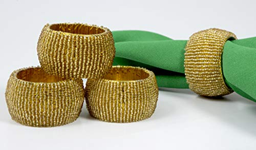 Ramanta Home Handmade Beaded Napkin Rings Set, 4 Pack (Gold) Beaded Napkin Holders, 2 Inch, Hand Made by Skilled artisans - A Beautiful complement to Your Dinner Table décor