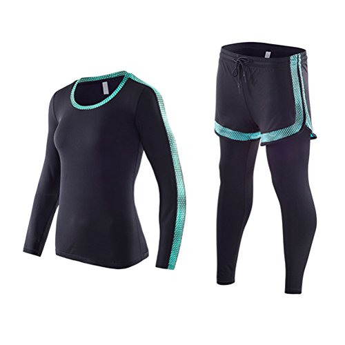 気配りのあるだらしない種類Zhuhaitf レディーズ トレーニング コンプレッション Base Layer トップ&ボトムセット Long Sleeve タイツ Suit Cool Dry Wicking Fitness Gym Yoga Clothing