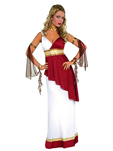 Ladies Imperial Empress Roman White Red Gold Toga Greek Historical Fancy Dress Costume Outfit UK 8-16 (UK 8-10) ()