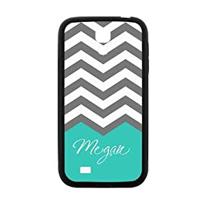 iFUOFF Amazing Grey and White Zigzag Chevron Cyan Customized Name Protective Snap On Fashion Case for Samsung I9295 GALAXY S4 Active (Black or White 2 Colors)