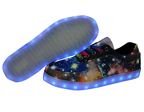 Dayout Unique Galaxy Print Led Light Up Sneakers Para Adultos Mujer Mujeres Luminous Canvas Zapatos Blue