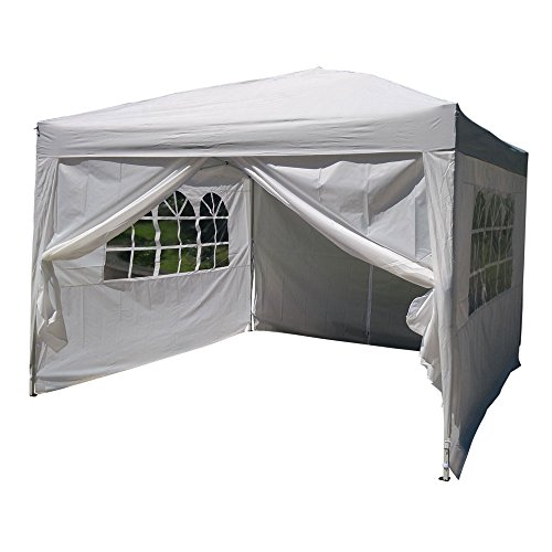 Valuebox Folding Wedding Party Tent Outdoor Pop Up Canopy Portable Shade Instant Gazebo Beach with Carry Bag,10'x 10′ 4Sidewalls White/Bule (White) Review