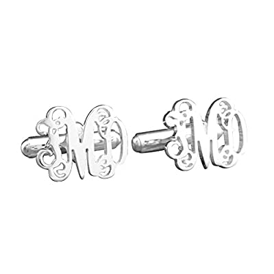 Ouslier Personalized 925 Sterling Silver Monogram Cuff Links Custom Made with 3 Initials