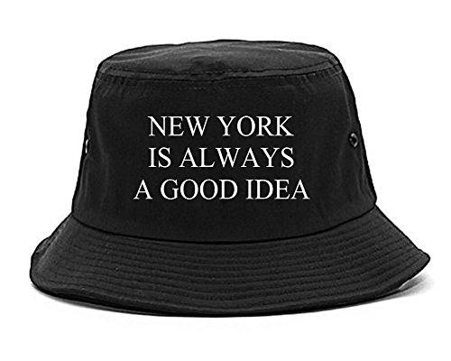 Kings Of NY New York Block Box Logo Cool Foreign Style Bucket Hat Black (Streetwear Bucket Hats)
