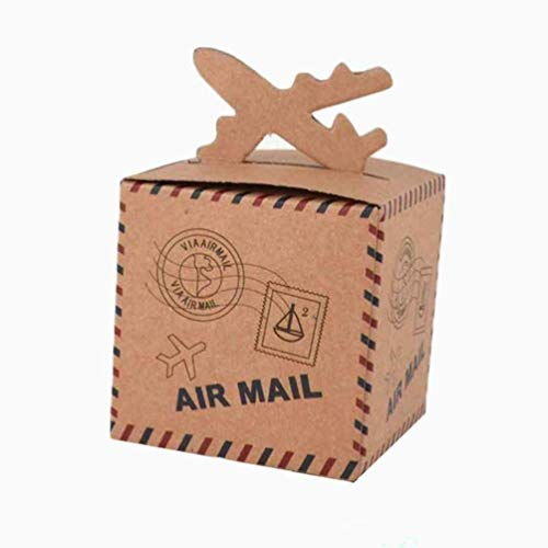 (BUYBUYMALL 50Pcs Wholesale Vintage Airplane Shape Party Favor Boxes Creative Brown Paper Candy Gift Box)