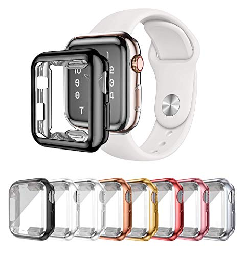 LOBKIN 8 Pack Apple Watch case with Built-in HD Clear Ultra-Thin TPU Screen Protector Cover Compatible for Apple Watch Series 2 and Apple Watch Series 3 Smartwatch Case (42MM)