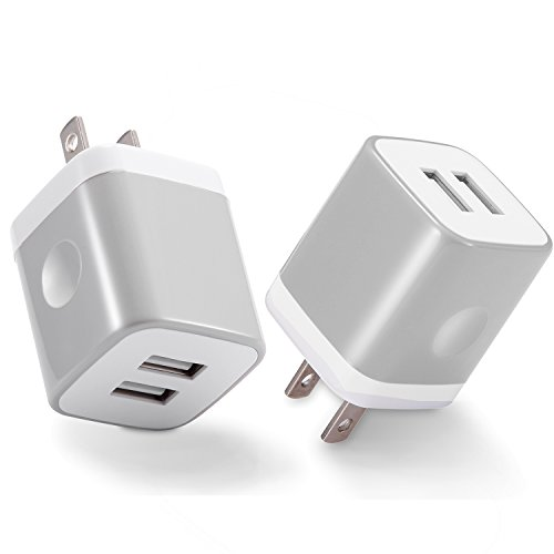 (USB Wall Charger, Power-7 2-Pack (2.1Amp) Power Universal Dual Port USB Charger Plug Cube Compatible with Phone Xs/XR/Xs Max/X/8/7/6 Plus/5S, Samsung Galaxy S10/S9/S8/S7/S6/S5, LG, Moto and More)