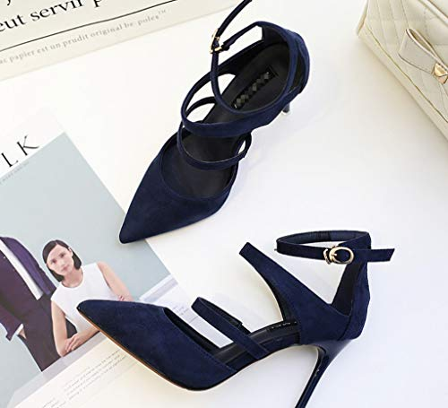 Blau High Comfort Spitzige Schnalle SAMT sexy Serie Hochzeit Reine Classic Super Formal Schuhe Heels Party Damen Sandalen LIANGXIE Gesicht Zhhzz Farbe fwxRqpXw