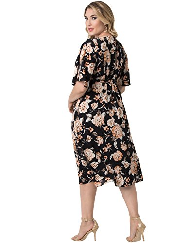 Kiyonna Women's Plus Size Cecile Chiffon Wrap Dress 1X Midnight Carnation
