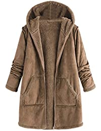 Tootu Womens Fashion Pocket Winter Plush Hooded Long Sleeve Warm Coat