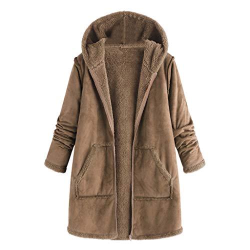 nter Drawstring Hoodie Sweatshirt Coat Fleece Long Sherpa Lined Jacket Khaki ()