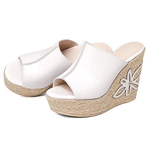 Annieshoe Mujer Cuñas Sandalis Elegantes Esparto Verano Vestir Blanco De rrgwq