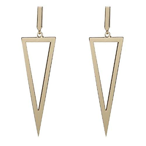 Drop Metal (Cinlan Women Metal Geometric Triangle Shape Drop Earrings Costume Jewelry (Gold))