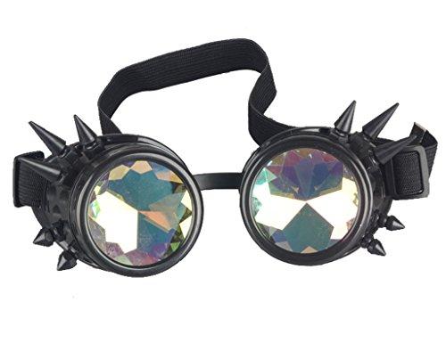 Kaleidoscope Rave Rainbow Crystal Lenses Steampunk Goggles Spike Halloween 4